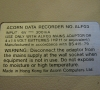 Acorn Electron Data Recorder ALF03 (label)