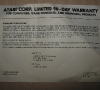 Atari XC12 Program Recorder (warranty card)