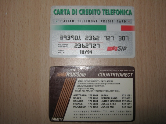 Sip Italian Telephone Credit Card & Italcable card