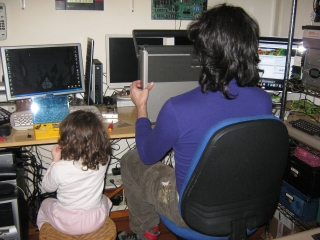 My daughter and I at work