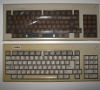 Commodore Amiga 1000 (keyboard new outer case vs yellowed case)