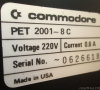 Commodore PET 2001 (Chiclet) Computer label close-up
