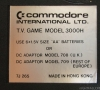 Commodore TV Game Model 3000H (console label)