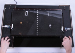 A playable game of Tabletop Pong